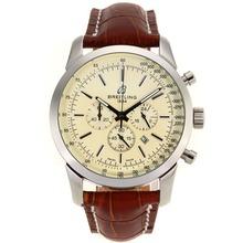 Replique Breitling Aeromarine Marqueurs de travail de bâton chronographe avec cadran blanc-bracelet en cuir 26374