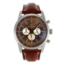 Replique Breitling Aeromarine Marqueurs de travail de bâton chronographe avec cadran brun-bracelet en cuir 26373
