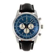 Replique Breitling Aeromarine Marqueurs de travail de bâton chronographe avec cadran bleu-bracelet en cuir 26372