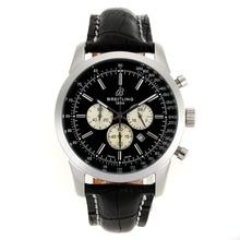 Replique Breitling Aeromarine Marqueurs de travail de bâton chronographe avec cadran noir-bracelet en cuir 26371