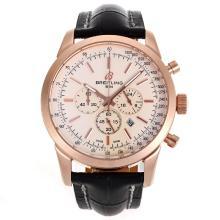 Replique Breitling Aeromarine-Chronographe Rose Marqueurs d'or de bâton de cas avec cadran blanc-bracelet en cuir 26362