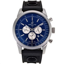 Replique Breitling Aeromarine Marqueurs de travail de bâton chronographe avec cadran bleu-bracelet gomme 26359