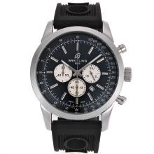 Replique Breitling Aeromarine Marqueurs de travail de bâton chronographe avec cadran noir-bracelet gomme 26358