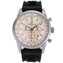 Replique Breitling Aeromarine Marqueurs de travail de bâton chronographe avec cadran blanc-bracelet gomme 26357