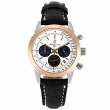 Replique Breitling Aeromarine-Chronographe Cadran Deux cas Tone blanc avec bracelet en cuir-Taille-Dame 26338
