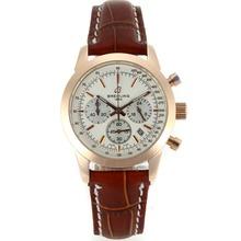 Replique Breitling Aeromarine de travail Chronographe avec cadran blanc bracelet en cuir-Taille-Dame 26325