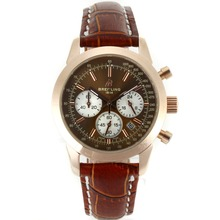 Replique Breitling Aeromarine de travail Chronographe avec cadran brun bracelet en cuir-Taille-Dame 26324