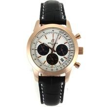Replique Breitling Aeromarine-Chronographe en or rose avec cadran blanc-bracelet en cuir Taille-Dame 26323