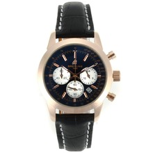 Replik Breitling Chronospace Working Chronograph Rose Gold Case Black Dial with Leather Strap-Lady Size – Attractive Breitling Chronospace Watch for You 26322