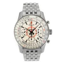 Replique Breitling Montbrillant chronographe suisse Valjoux 7750 Mouvement marqueurs de bâton avec cadran blanc S / S-verre de saphir - Attractive Breitling Montbrillant montre pour vous 26267