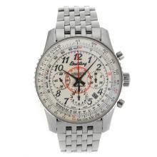 Replique Breitling Montbrillant chronographe suisse Valjoux 7750 Mouvement avec marqueurs Nombre cadran blanc S / S-verre de saphir - Attractive Breitling Montbrillant montre pour vous 26266