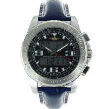 Replique Breitling Emergency Displayer numérique avec bracelet en cuir noir Cadran-Bleu - Attractive montre Breitling Emergency pour vous 26254