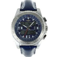 Replique Breitling Emergency Displayer numérique avec bracelet en cuir bleu Cadran-Bleu - Attractive montre Breitling Emergency pour vous 26253