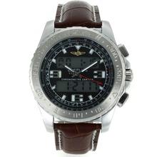 Replique Breitling Emergency Displayer numérique avec bracelet en cuir cadran noir-brun - Attractive montre Breitling Emergency pour vous 26249