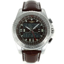 Replik Breitling Emergency Digital Displayer with Brown Dial-Brown Leather Strap – Attractive Breitling Emergency Watch for You 26248