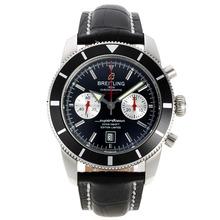 Replique Breitling Super Ocean Chronographe Suisse Valjoux 7750 Mouvement avec cadran noir-bracelet en cuir - Attractive Breitling Super Ocean Watch pour vous 26198