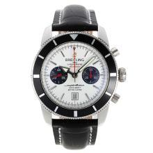 Replique Breitling Super Ocean Chronographe Suisse Valjoux 7750 Mouvement avec cadran blanc-bracelet en cuir - Attractive Breitling Super Ocean Watch pour vous 26197
