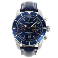 Replique Breitling Super Ocean Chronographe Suisse Valjoux 7750 Mouvement avec cadran bleu-bracelet en cuir - Attractive Breitling Super Ocean Watch pour vous 26196