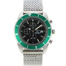Replique Breitling Super Ocean travail chronographe lunette verte avec cadran noir S / S - Attractive Breitling Super Ocean montre pour vous 26170