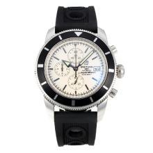 Replique Breitling Super Ocean-Chronographe Lunette noire avec cadran blanc-Silver Needle - Attractive Breitling Super Ocean Watch pour vous 26103