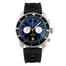 Replique Breitling Super Ocean-Chronographe Lunette noire avec cadran blanc-Silver Needle - Attractive Breitling Super Ocean Watch pour vous 26101