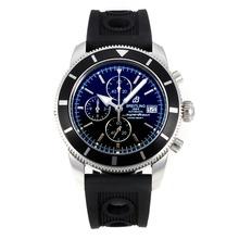 Replique Breitling Super Ocean-Chronographe Lunette noire avec cadran noir-Bracelet Caoutchouc - Attractive Breitling Super Ocean Watch pour vous 26100