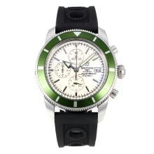 Replique Breitling Super Ocean-Chronographe Lunette Verte avec cadran blanc-bracelet en caoutchouc - Attractive Breitling Super Ocean Watch pour vous 26099