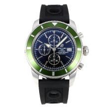 Replique Breitling Super Ocean-Chronographe Lunette Verte avec cadran noir-Bracelet Caoutchouc - Attractive Breitling Super Ocean Watch pour vous 26097