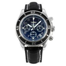 Replique Breitling Super Ocean travail Chronographe Lunette noire avec cadran noir-blanc Aiguilles - Attractive Breitling Super Ocean Watch pour vous 26092