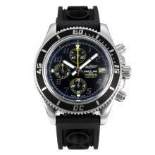 Replique Breitling Super Ocean-Chronographe Lunette noire avec cadran noir-jaune Aiguilles - Attractive Breitling Super Ocean montre pour vous 26079