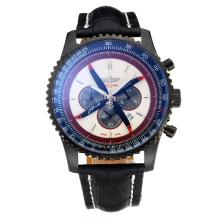 Replique Breitling Navitimer Chronographe PVD affaire de travail avec cadran blanc-bracelet en cuir - Attractive Breitling Navitimer montre pour vous 26060