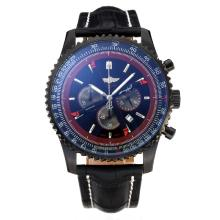 Replik Breitling Navitimer Working Chronograph PVD Case with Black Dial-Leather Strap – Attractive Breitling Navitimer Watch for You 26059