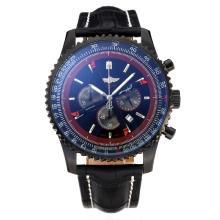 Replique Breitling Navitimer Chronographe PVD affaire de travail avec cadran noir-bracelet en cuir - Attractive Breitling Navitimer montre pour vous 26059