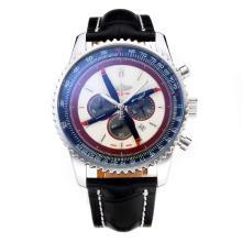Replique Breitling Navitimer Chronographe de travail avec cadran blanc-bracelet en cuir - Attractive Breitling Navitimer montre pour vous 26058