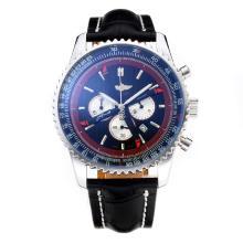 Replique Breitling Navitimer Chronographe de travail avec cadran noir-bracelet en cuir - Attractive Breitling Navitimer montre pour vous 26057