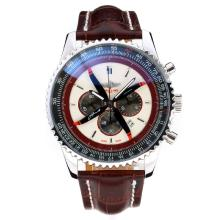 Replique Breitling Navitimer Chronographe de travail avec cadran blanc-bracelet en cuir - Attractive Breitling Navitimer montre pour vous 26056