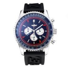 Replique Breitling Navitimer Chronographe de travail avec cadran noir-Bracelet Caoutchouc - Attractive Breitling Navitimer montre pour vous 26055