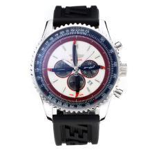 Replique Breitling Navitimer Chronographe de travail avec cadran blanc-bracelet en caoutchouc - Attractive Breitling Navitimer montre pour vous 26054