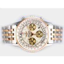 Replique Breitling Navitimer Chronographe Suisse Valjoux 7750 Mouvement Deux Tons Cadran Blanc - Attractive Breitling Navitimer montre pour vous 26970