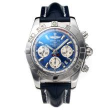 Replique Breitling suisse classique Valjoux 7750 Mouvement avec cadran bleu-verre de saphir-bracelet en cuir - Attractive Autres Breitling for You 26032
