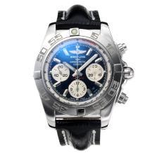 Replique Breitling suisse classique Valjoux 7750 Mouvement avec cadran bleu-verre de saphir-bracelet en cuir - Attractive Autres Breitling for You 26031