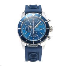 Replique Breitling Super Ocean Chronographe de travail bleu lunette avec cadran bleu-Rubber Strap-Silver Needle - Attractive Breitling Super Ocean montre pour vous 26026