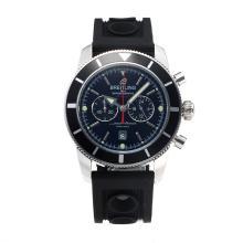 Replique Breitling Super Ocean-Chronographe Lunette noire avec cadran noir-Bracelet Caoutchouc - Attractive Breitling Super Ocean Watch pour vous 26025