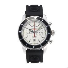 Replique Breitling Super Ocean-Chronographe Lunette noire avec cadran blanc-bracelet en caoutchouc - Attractive Breitling Super Ocean Watch pour vous 26024