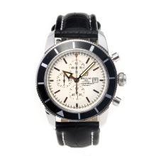 Replique Breitling Super Ocean-Chronographe Lunette noire avec cadran blanc-bracelet en cuir - Attractive Breitling Super Ocean Watch pour vous 26018