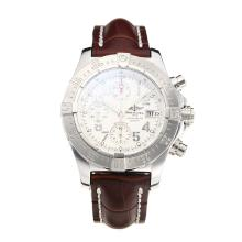 Replique Breitling Chrono Avenger Chronograph Valjoux 7750 Mouvement suisse avec cadran blanc-bracelet en cuir-verre de saphir - Attractive Montre Breitling Chrono Avenger pour vous 26002