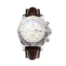Replique Breitling Chrono Avenger Chronograph Valjoux 7750 Mouvement suisse avec cadran blanc-bracelet en cuir-verre de saphir - Attractive Montre Breitling Chrono Avenger pour vous 26001