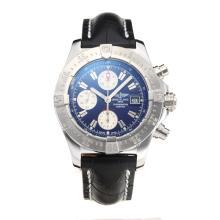 Replique Breitling Chrono Avenger Chronograph Valjoux 7750 Mouvement suisse avec cadran bleu-bracelet en cuir-verre de saphir - Attractive Montre Breitling Chrono Avenger pour vous 26000