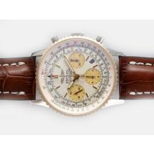 Replik Breitling Navitimer Chronograph Swiss Valjoux 7750 Movement Two Tone Case with White Dial – Attractive Breitling Navitimer Watch for You 26952
