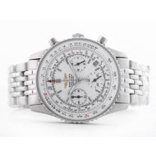 Replique Breitling Navitimer Chronographe Cadran Blanc de travail avec le bâton de marquage-Taille-Dame - Attractive Breitling Navitimer montre pour vous 26860